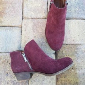 Lucky Brand Blare Suede Double Zip Ankle Boot 5.5